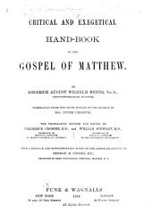 Critical and Exegetical Hand-book to the New Testament: Volume 1