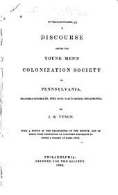 A discourse before the Young men's colonization society of Pennsylvania: delivered October 24, 1834, in St. Paul's church, Philadelphia