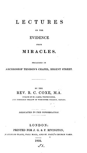 Lectures on the evidence from miracles