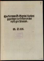 Eyn Sermon D. Martini Lutheri geprediget zu Erffurt yn der reyß gen Wormis