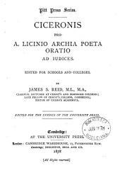 M. Tulli Ciceronis Pro A. Licinio Archia Poeta Oratio Ad Iudices.