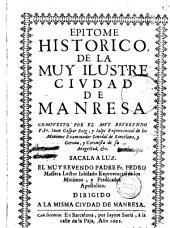 Epitome historico de la Muy Ilustre ciudad de Manresa