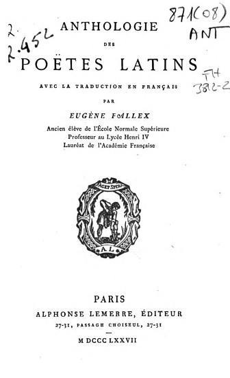 Anthologie des po  tes latins PDF