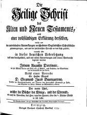Die Heil. Schrift, nebst einer vollstaendigen Erklaerung derselben aus den Anmerkungen Englaend. Schriftsteller: Band 4