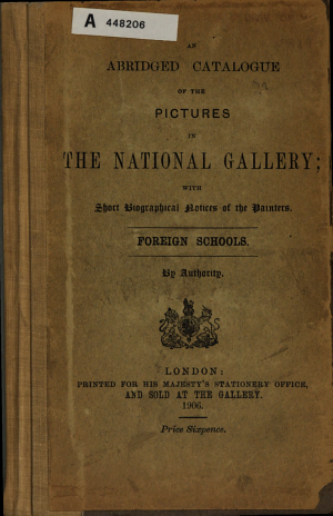 An Abridged Catalogue of the Pictures in the National Gallery