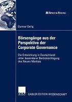 B  rseng  nge aus der Perspektive der Corporate Governance PDF