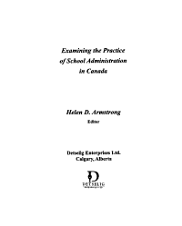 Examining the Practice of School Administration in Canada PDF