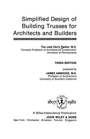 Simplified Design of Building Trusses for Architects and Builders PDF