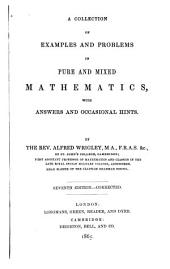 Collection of Examples and Problems in Pure and Mixed Mathematics: With Answers and Occasional Hints