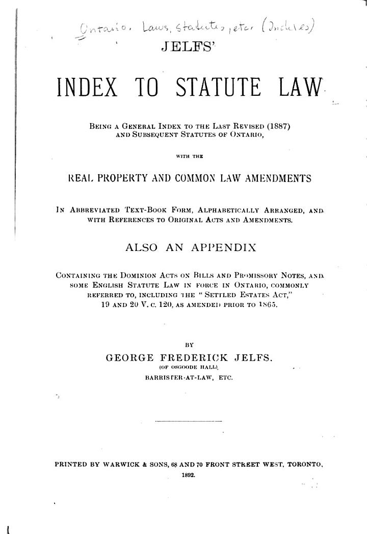 Jelfs' Index to Statute Law