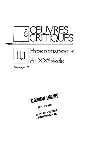 Oeuvres Et Critiques