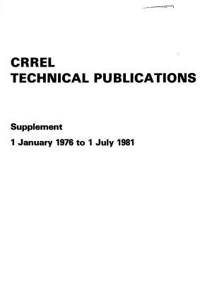 CRREL Technical Publications PDF