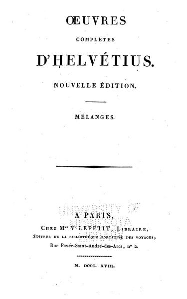 Download Oeuvres Completes D Helv  tius Book