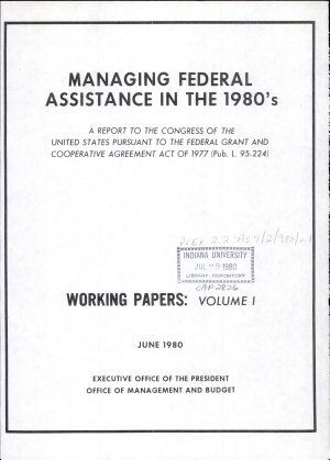 Managing Federal assistance in the 1980 s PDF
