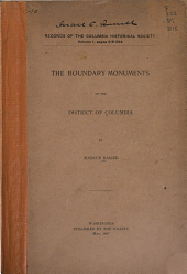 The Boundary Monuments of the District of Columbia