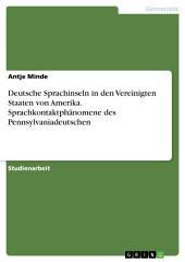 Deutsche Sprachinseln in den Vereinigten Staaten von Amerika. Sprachkontaktphänomene des Pennsylvaniadeutschen