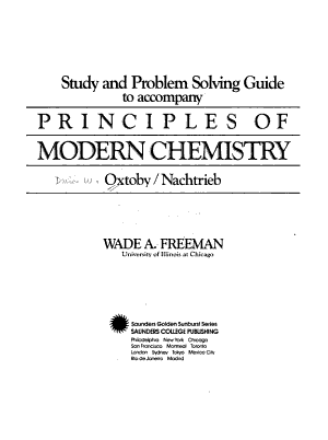Study and Problem Solving Guide to Accompany Principles of Modern Chemistry  Oxtoby Nachtrieb PDF