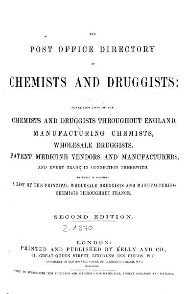 Download The Post Office Directory of Chemists and Druggists Book