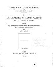 Défense et illustration de la langue françoise, suivi de l'Olive et quelques autres oeuvres poétiques