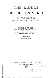 The Riddle of the Universe at the Close of the Nineteenth Century: Volume 3