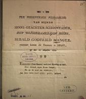 Ter negentigste verjaaring van mijnen Hoog-geachten Schoonvader [...] Sebald Godfried Manger, rustenden Leeraar der Gemeente te Delft, op den 12 Augustus 1793