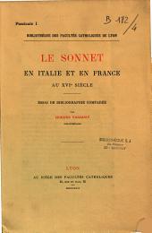 Le sonnet en Italie et en France au XVIe siècle: essai de bibliographie comparée