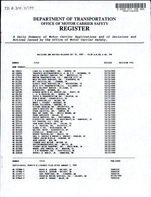 Department of Transportation Office of Motor Carrier Safety Register