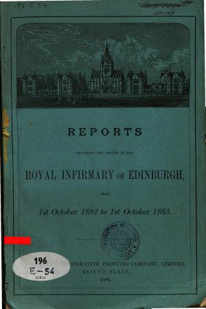 Reports regarding the affairs of the Royal Infirmary of Edinburgh PDF