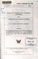 Legislative Review and Oversight Activities of the Committee on Foreign Affairs PDF