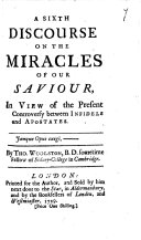 A Sixth Discourse on the Miracles of Our Saviour