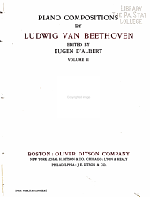 Piano compositions by Ludwig van Beethoven: Volume 2