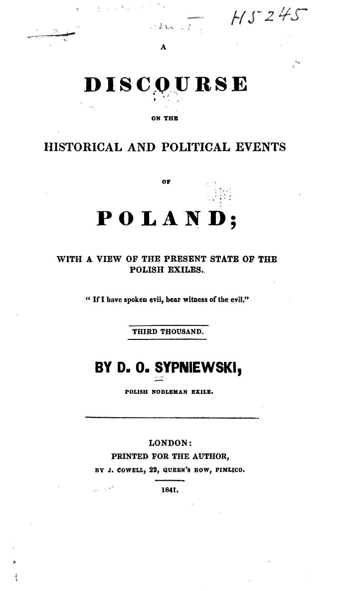 A Discourse on the Historical and Political Events of Poland