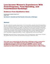 Low-Income Women's Experiences with Food Programs, Food Spending, and Food-Related Hardships: Evidence from Qualitative Data