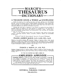 March S Thesaurus Dictionary