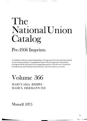 The National Union Catalog  Pre 1956 Imprints PDF