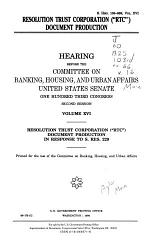 Hearings Relating to Madison Guaranty S&L and the Whitewater Development Corporation, Washington, DC Phase: Resolution Trust Corporation (