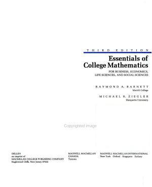 Essentials of College Mathematics for Business  Economics  Life Sciences  and Social Sciences PDF