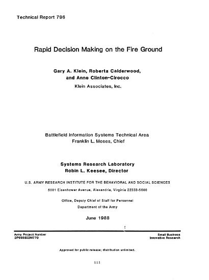 Rapid Decision Making on the Fire Ground PDF