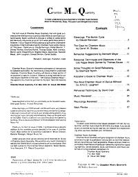 Chamber Music Quarterly PDF