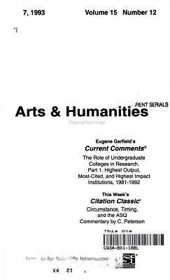 CURRENT CONTENTS ARTS   HUMMANITIES JUNE 7  1993 VOLUME 15 NUMBER 12 PDF