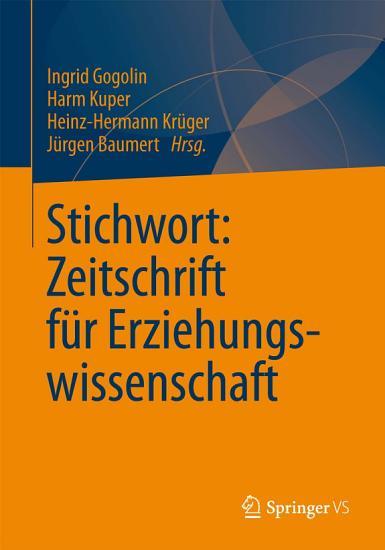 Stichwort  Zeitschrift f  r Erziehungswissenschaft PDF