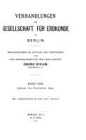 Verhandlungen der Gesellschaft f  r Erdkunde zu Berlin PDF