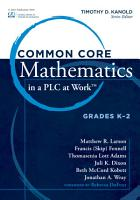 Common Core Mathematics in a PLC at Work         Grades K 2 PDF