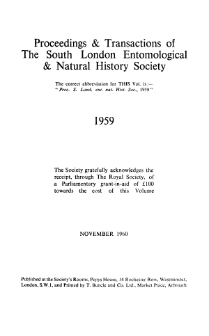Proceedings and Transactions of the South London Entomological and Natural History Society
