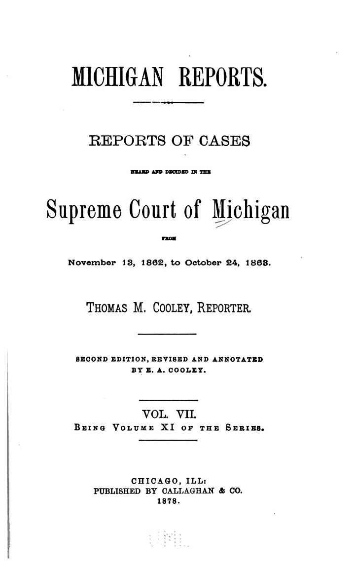 Michigan Reports. 1. VOL. 1-200 ONLY