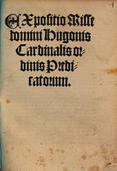 Expositio Misse domini Hugonis Cardinalis ordinis Predicatorum