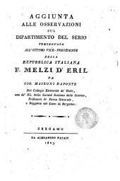 Aggiunta alle osservazioni sul dipartimento del Serio presentate all'ottimo vice-presidente della Repubblica italiana F. Melzi d'Eril da Gio. Maironi Daponte ..