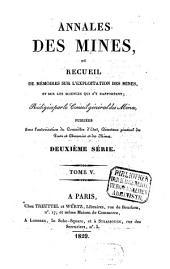 Annales des mines: ou recueil de mémoires sur l'exploitation des mines et sur les sciences et les arts qui s'y rapportent, Volume5