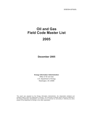 Oil and Gas Field Code Master List 2005 PDF