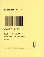 California. Court of Appeal (4th Appellate District). Division 2. Records and Briefs: E014137, Judicial Notice